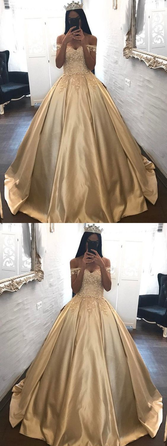 Glam Champagne Ball Gown Prom Dresses, Off-the-shoulder Appliques Satin Sweet 16