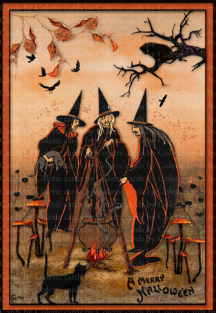 Halloween Witches Together Digital Collage Greeting Card3018