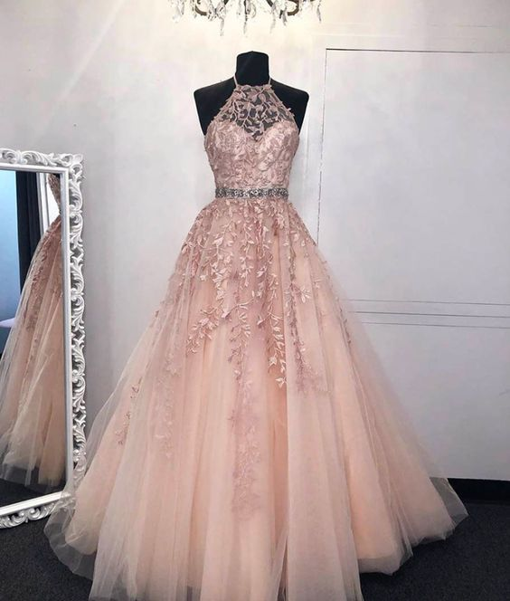 halter pink senior prom dresses long lace applique beaded elegant a-line prom