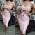 pink floral evening dresses short lace applique mermaid sexy cheap evening gown