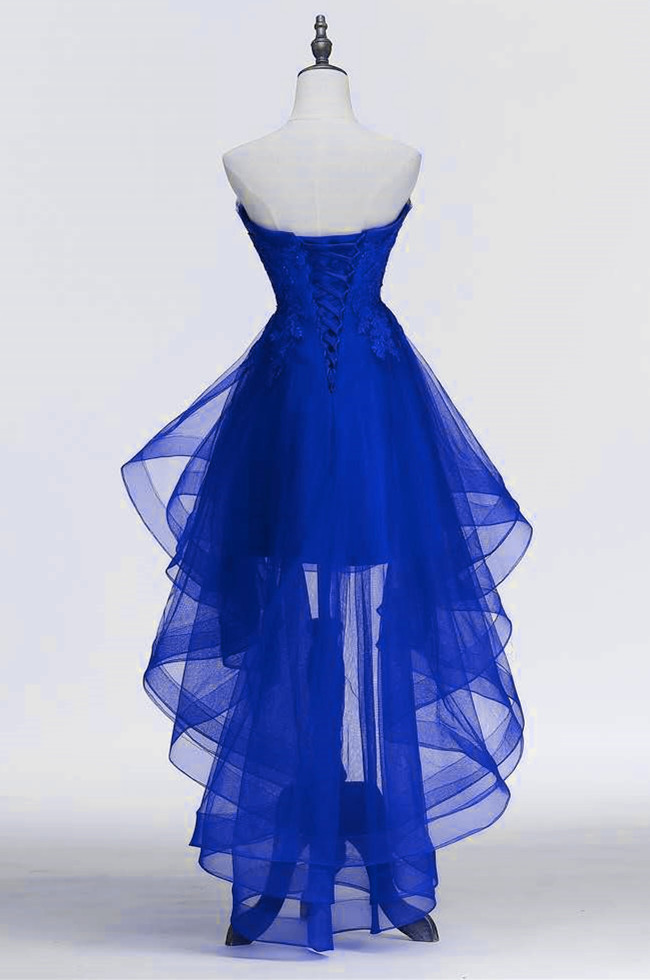 Blue Fashionable High Low Scoop Tulle Homecoming Dress, Royal Blue Prom Dress