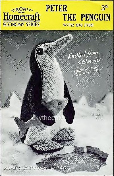 PDF Digital Download Vintage Knitting Pattern 11'' Penguin & Fish Stuffed Plush