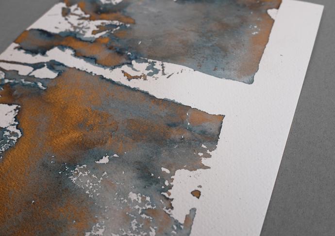 Original painting, original ink blue, painting on paper, neutral ink original ,