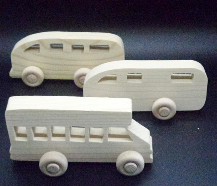Pkg of 3 Handcrafted Wood Toy Buses, Motor Home OT-67-3-BH-U   unfinished or