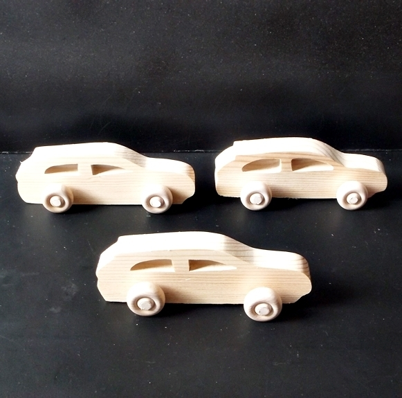 Pkg of 3 Handcrafted Wood Toy Cars 265BH-U-3 Unfinished or finished
