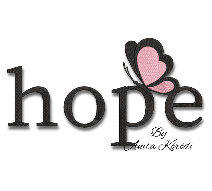 Hope Breast Cancer ribbon embroidery machine design butterfly pes pattern