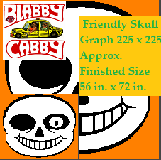 Friendly Skull- 225 x 225 Graph with Block row by row instructions for Single