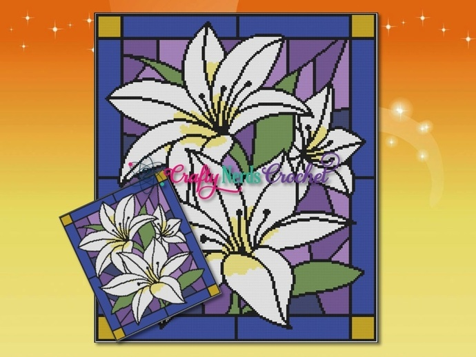Stained Glass Lilies  Pattern Graph With Single Crochet Written