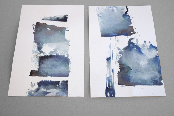 Set of 2, painting on paper, blue ink original , abstract painting on paper,