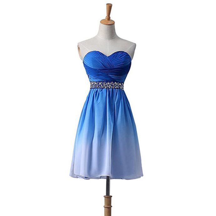 Beautiful Blue Gradient Beaded Knee Length Party Dress, Blue Homecoming Dress
