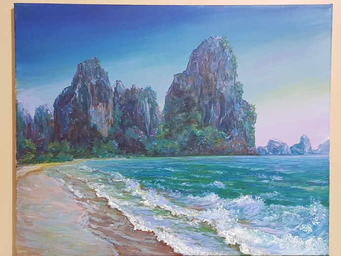 Original painting acrylic paint, natural landscape, contemporary art, sea, waves