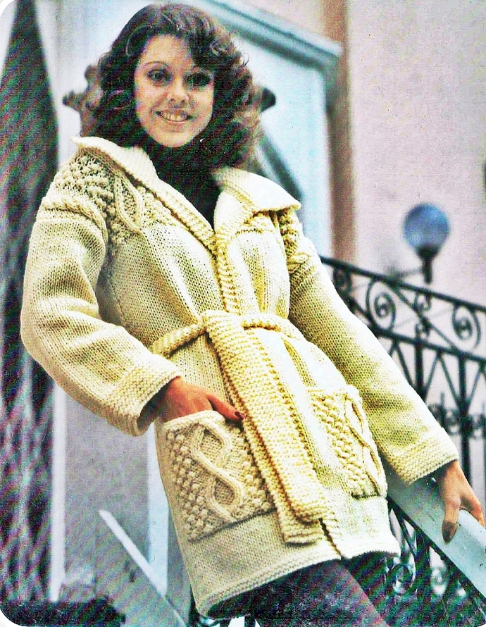 PDF Digital Download Vintage Knitting Pattern Womens Ladies Aran Style Cable