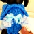 Cozy Stylish and Warm Blue and White Mini Pompom Hand Knit Sweater, Small Dog