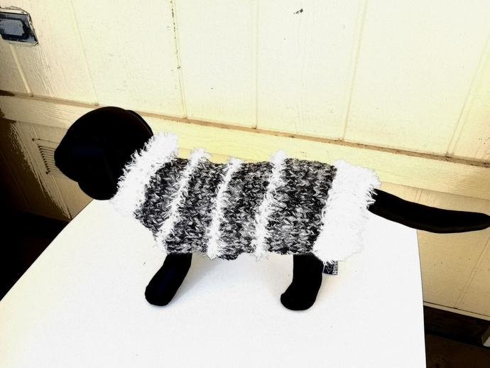 Cozy Warm Black and White Fun Fur Sweater, Chihuahua Sweater, Small Breed Dog