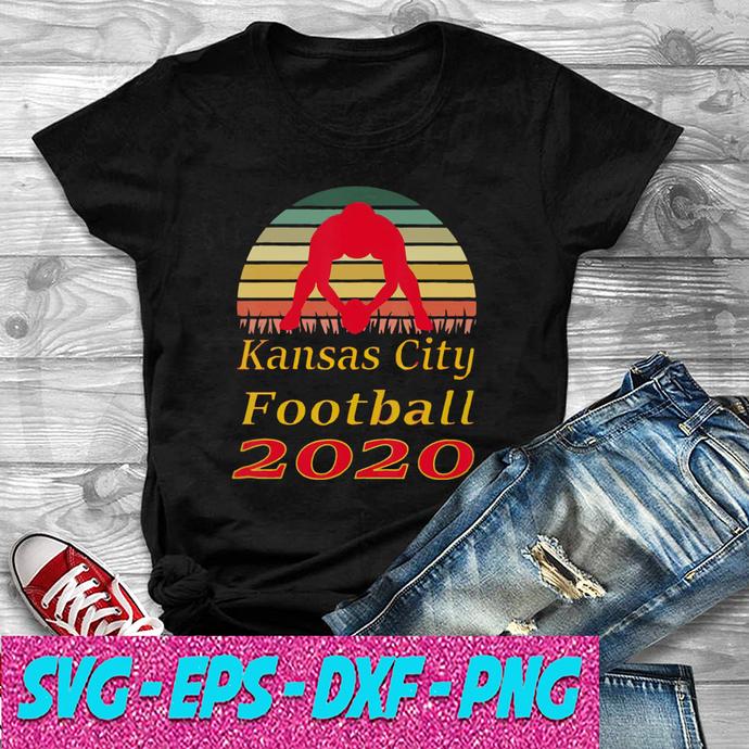 Kansas City Football 2020 Retro Sunset Red Lineman SVG , EPS , DXF , PNG DIGITAL
