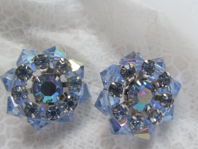 Vintage Earrings of blue aurora borealis crystal rhinestones from the 50's