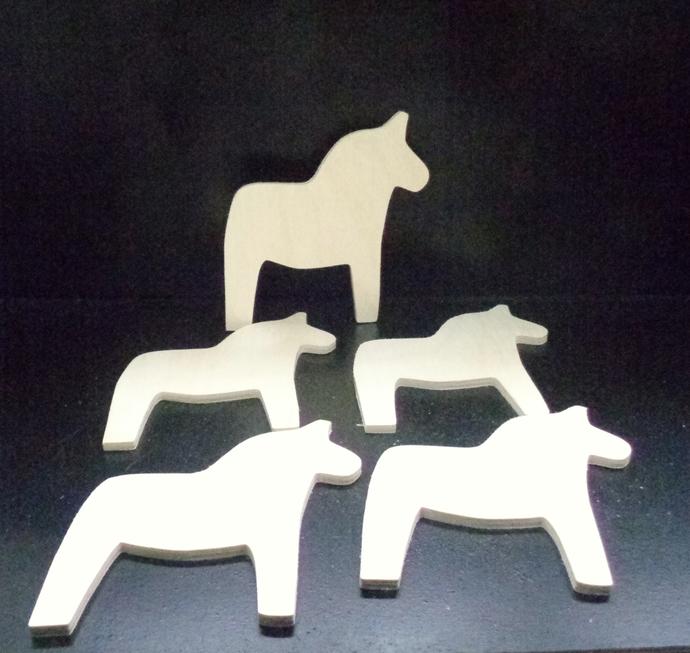 4 Dala Horse Cutouts D-2-25 Unfinished Wood