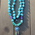 Beaded Necklace, Copper, Turquoise, Boho Necklace, Beaded Necklace, with Etched