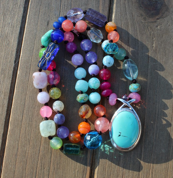 Colorful Beaded Necklace, with pendant, Turquoise Jewelry, Gemstone Necklace,