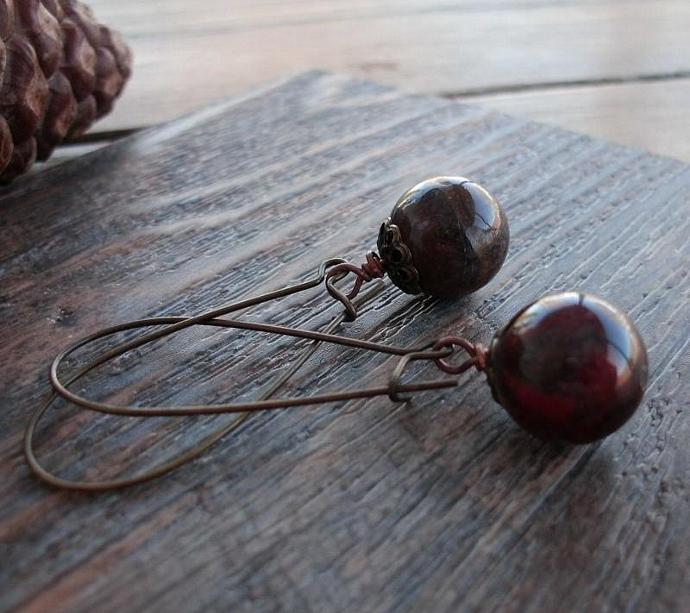 Mottled Red and Brown Agate Earrings