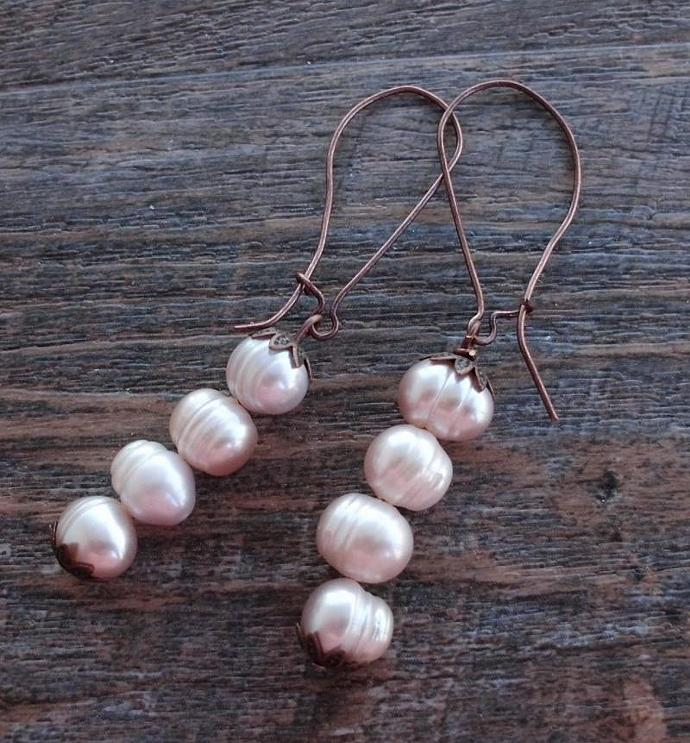 Vintage Style Freshwater Pearl Earrings with Four Pearls