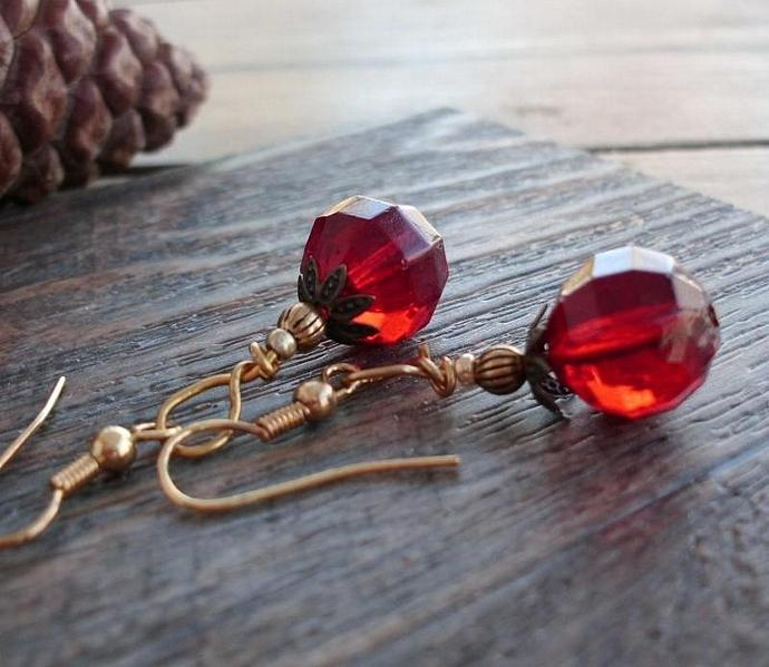 Red Faceted Valentines Day Earrings