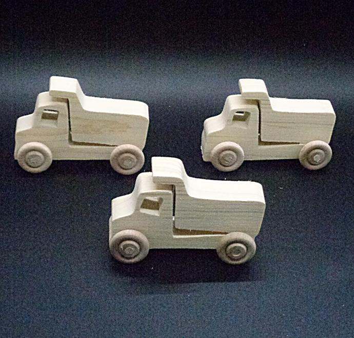 Pkg of 3 Handcrafted Wood Toy Dump Trucks 357AH-U-3  unfinished or finished