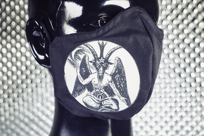 HAIL SATAN! Black Baphomet 2-Layer Handmade Fitted Face Mask with Filter Pocket