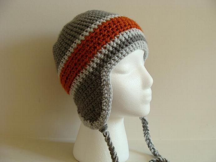 Orange and Grey Skater Crocheted Ear Flap Hat by atangledmess on 7fd454c5802