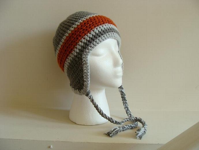 b3d4b03d99d Orange and Grey Skater Crocheted Ear Flap Hat ...