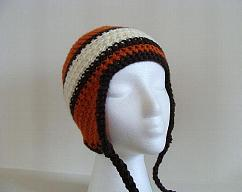 4bcbee58b2f Orange and Grey Skater Crocheted Ear Flap Hat by atangledmess on