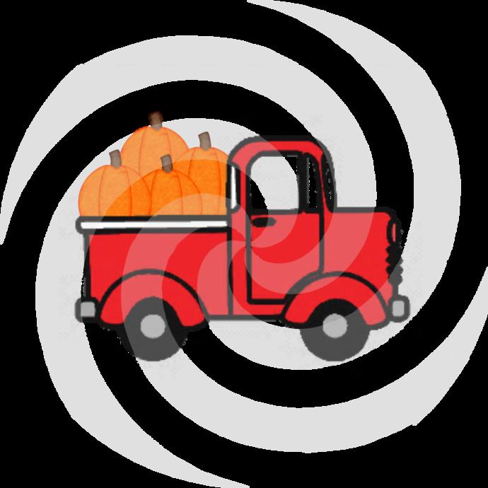 Pumpkins with Truck 9a-Digital Clipart-Art Clip-Gift Cards-Banner-Gift