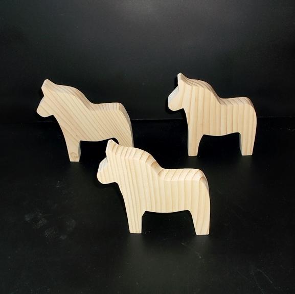 3 Dala Horse Cutouts D-2-75 ufinished Wood