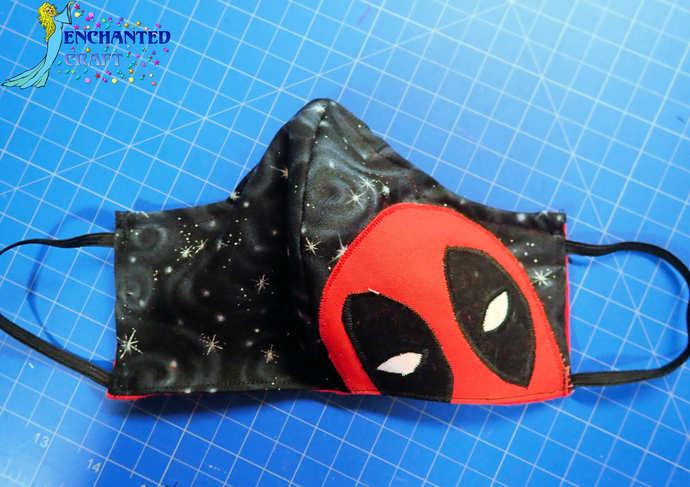 Fun DEADPOOL Geeky face mask 100% cotton fabric & flannel handmade washable