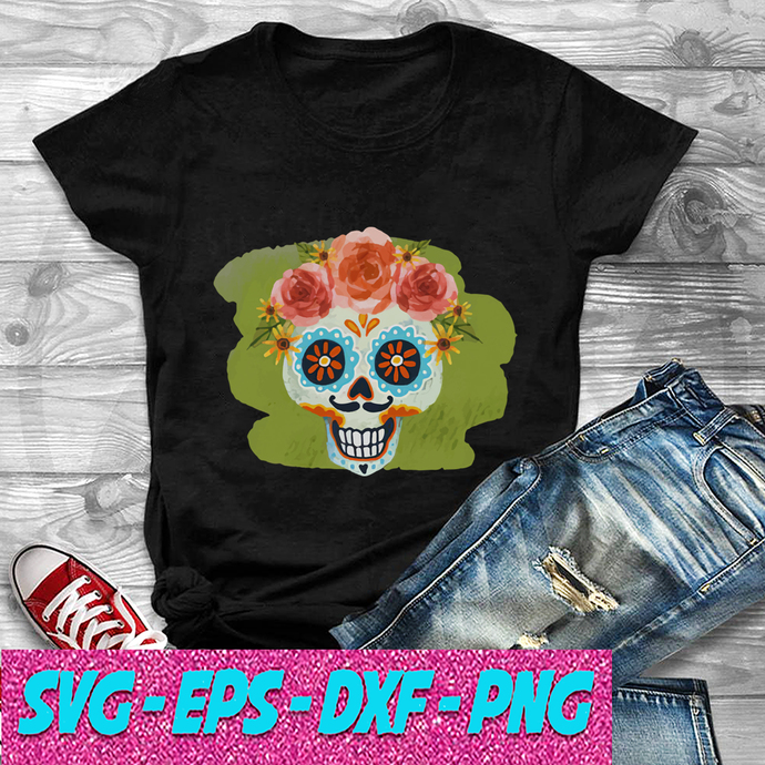 Skull Day Of The Dead In Mexican SVG , EPS , DXF , PNG DIGITAL DOWNLOAD