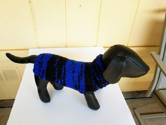 Stylish Multi-Colored Blue and Black Dog Sweater, Cozy and Warm Pet Apparel,