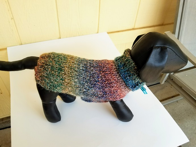 Soft, Warm, Variegated/Multi-Colored Dog Sweater, Hand-Knit Dog Apparel, Puppy