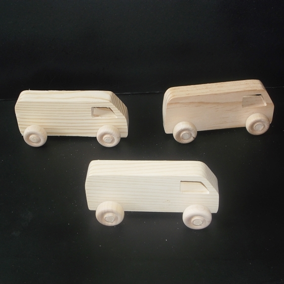 Pkg of 3 Handcrafted Wood Toy Vans 251BH-U-3 unfinished or finished