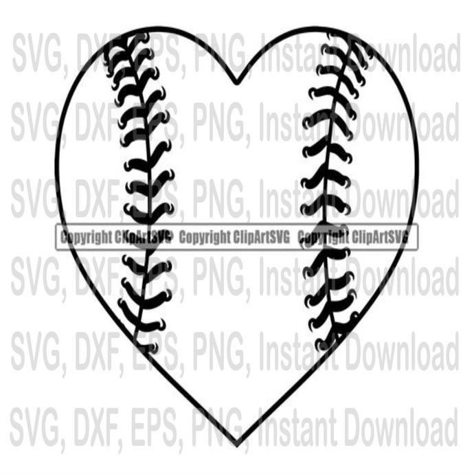 Love Baseball Heart Tournament Ball Bat By Svg File Sport On Zibbet