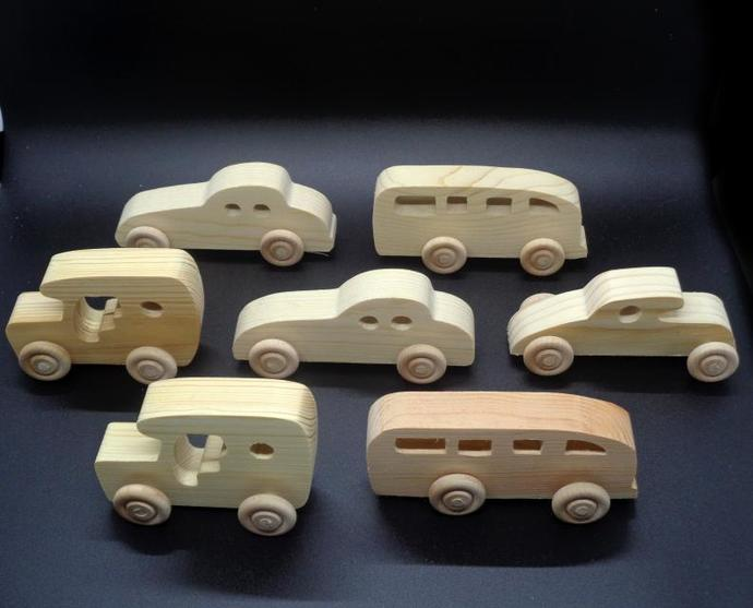 Pkg of 7  Handcrafted Wood Toy Cars, Bus OT- 60-7-AH unfinished or finished