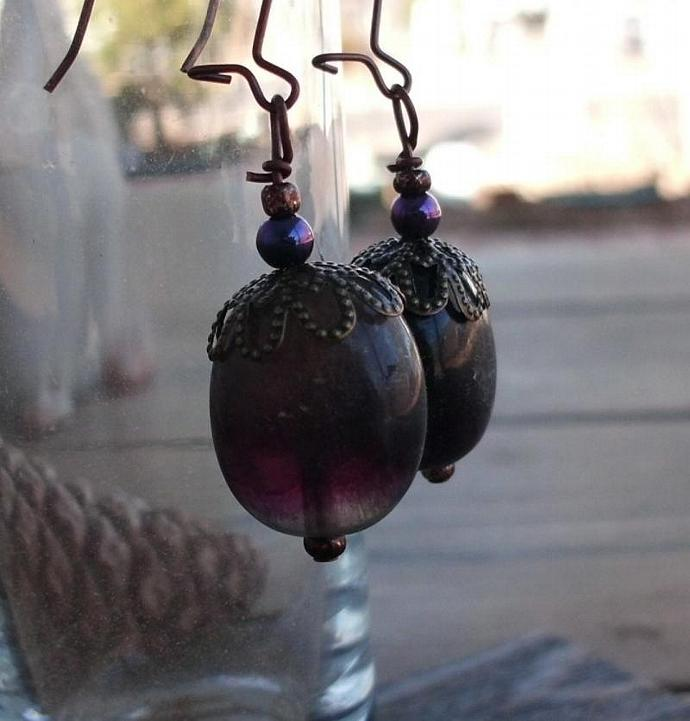 Fluorite Pebbles Vintage Style Earrings Purple and Green