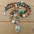 Hand knot beaded Jewelry, by KnottedUp, with Aquaprase Pendant, in Green and