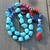 Red & Blue Jewelry, Beaded Necklace, by Knottedup, Hand knot jewelry, Statement