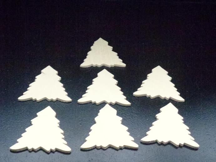 Pkg of 7 Christmas Tree Unfinished Wood Cutouts WCO-16-18