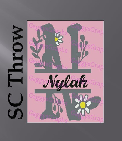 N is for Nylah - Single Crochet Adult throw Pattern, graph plus color coded