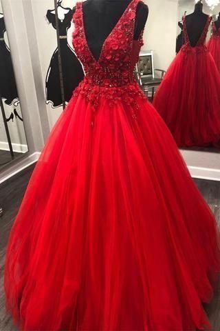 Charming V neck Tulle Ball Gown Prom Dresses H3514