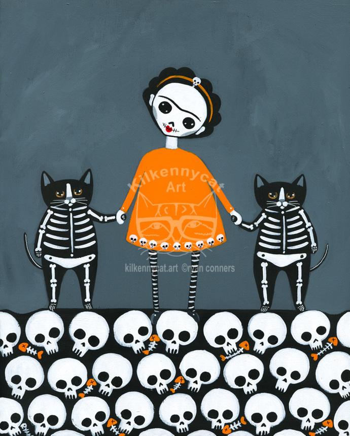 Frida y Gatos Day of the Dead Original Cat Folk Art Painting