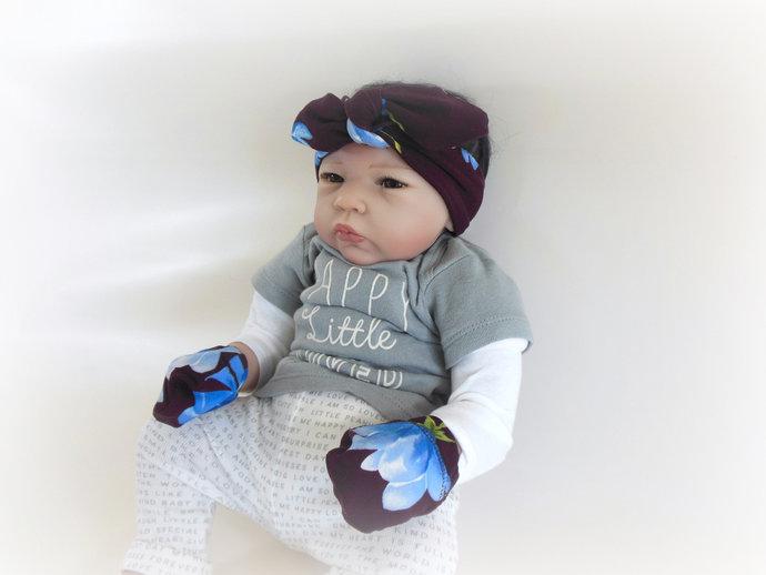 Blue Flower on Wine Background Swaddle Sack, Blue Flower Baby Tie-Knit Headband,