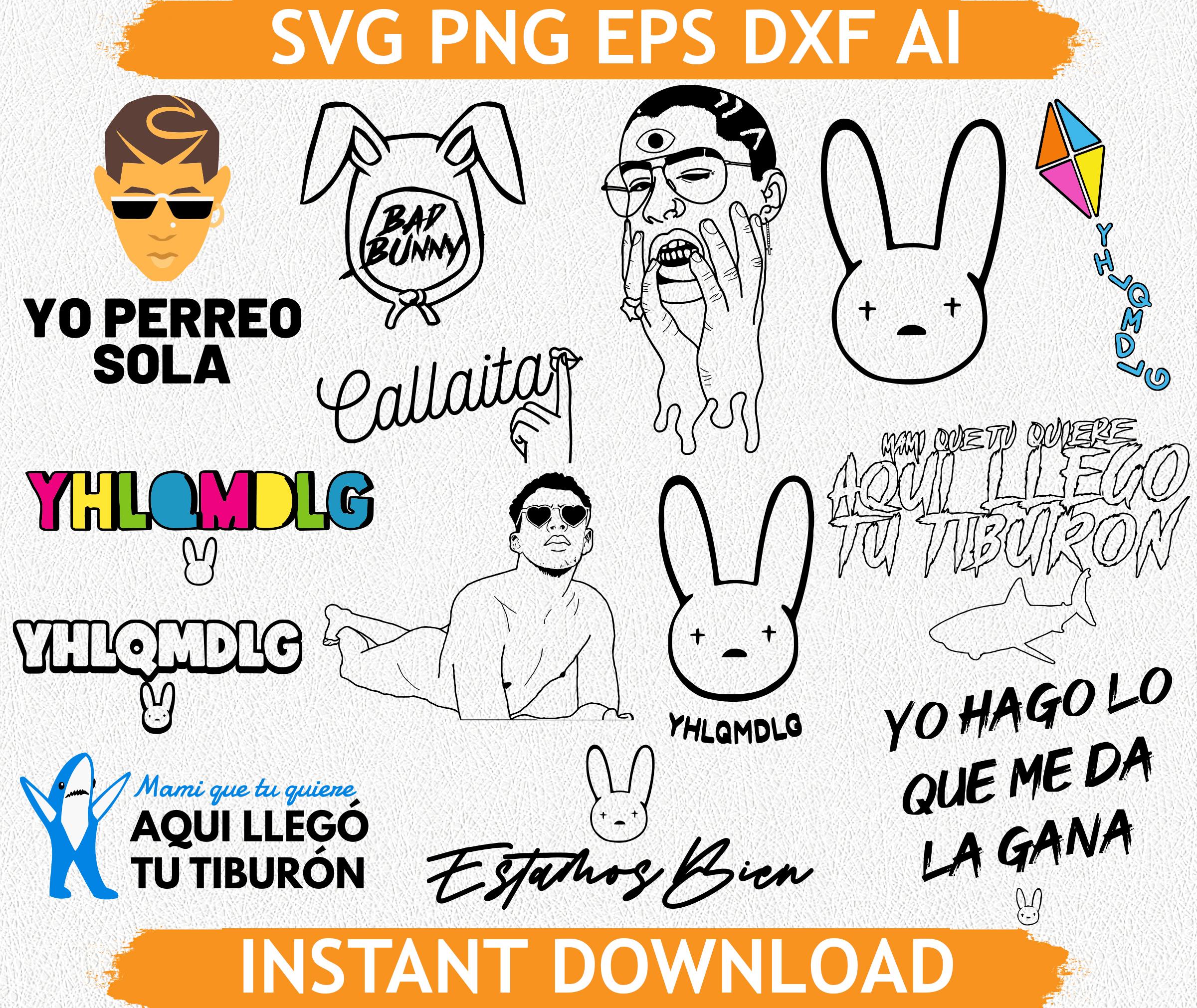 Bad Bunny Eps Bad Bunny Ai J Balvin Png J By Bigsvgbundle On Zibbet