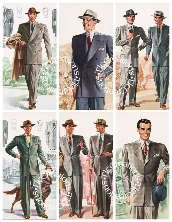 Vintage Men's Fashion Cards Cut Apart Sheets Junk Journal ATC Cards